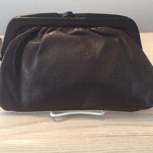 Leather brown clutch handbag Italy